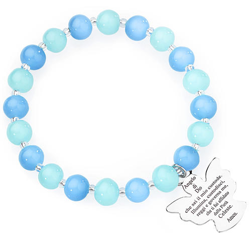 Amen bracelet in blue and aquamarine Murano beads 8mm, sterling 1