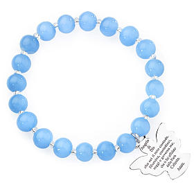 Bracciale AMEN perle Murano blu 8 mm argento 925 s1