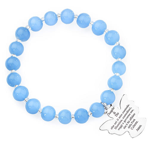 Bracciale AMEN perle Murano blu 8 mm argento 925 1