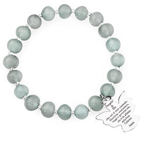 Bracelet Amen perles verre Murano gris clair 8 mm argent 925 s1