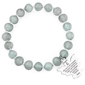 Bracciale AMEN perle Murano grigio chiaro 8 mm argento 925 s1