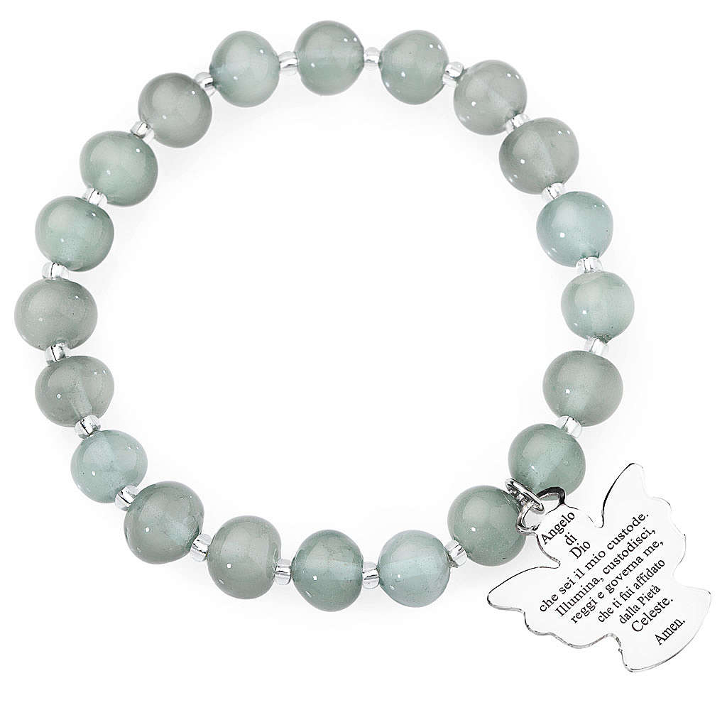 Amen bracelet in light grey Murano beads 8mm, sterling silver 4