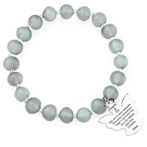 Amen bracelet in light grey Murano beads 8mm, sterling silver 1