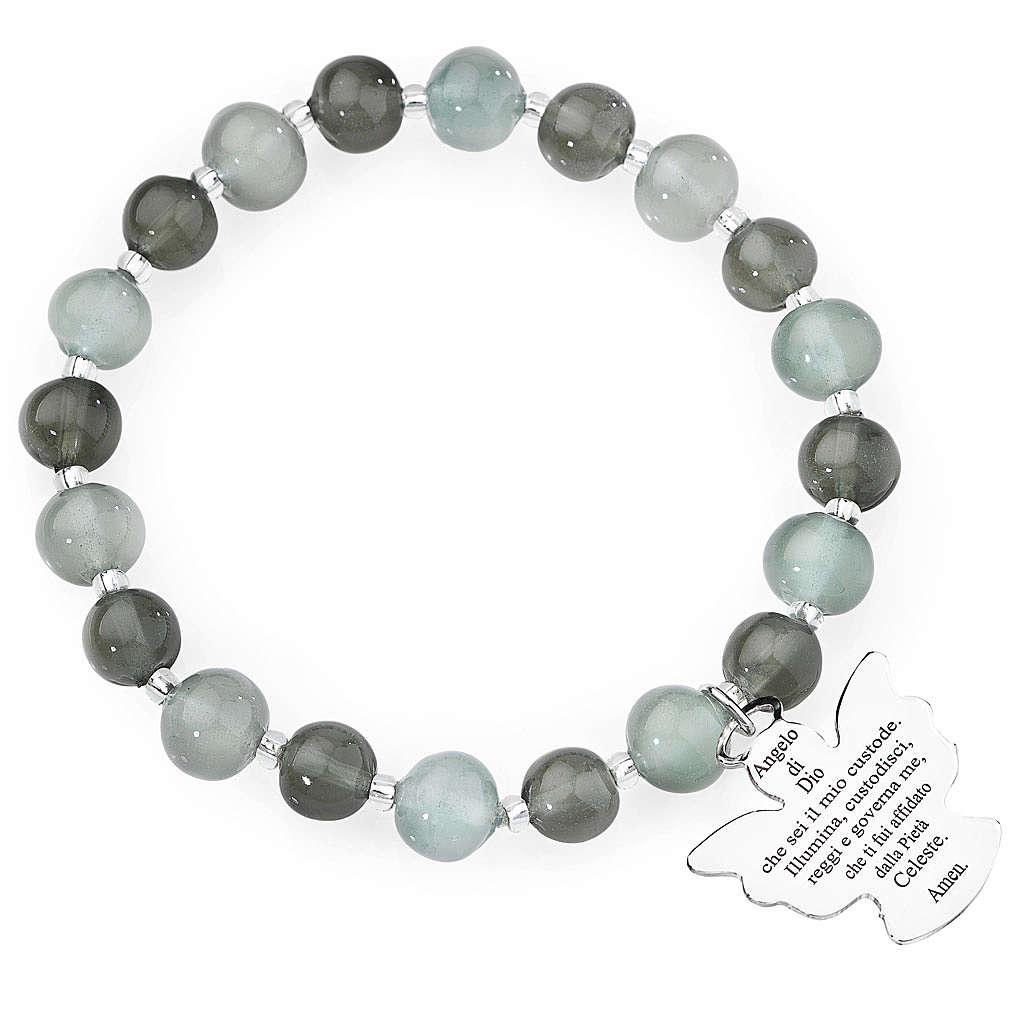 Bracciale AMEN perle Murano grigio 8 mm argento 925 4