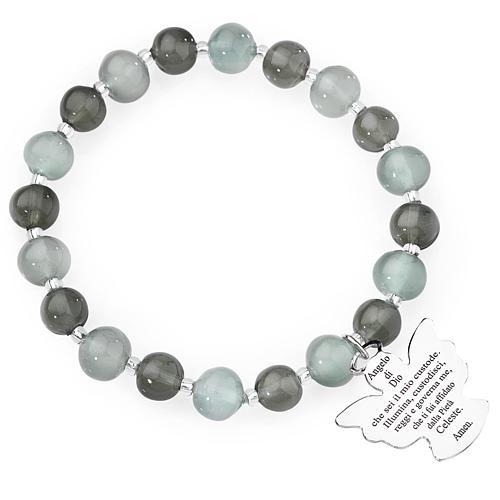 Bracciale AMEN perle Murano grigio 8 mm argento 925 1