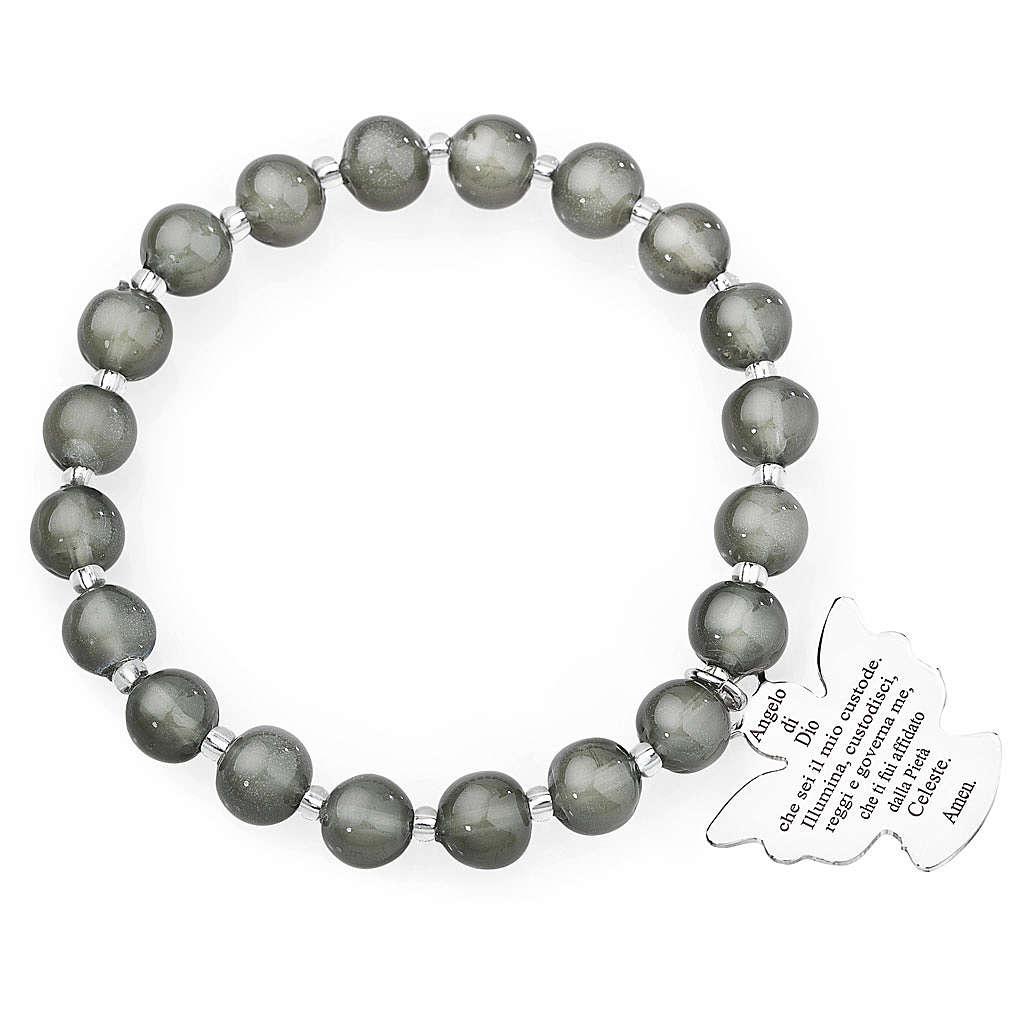 Bracelet Amen perles verre Murano gris foncé 8 mm argent 925 4