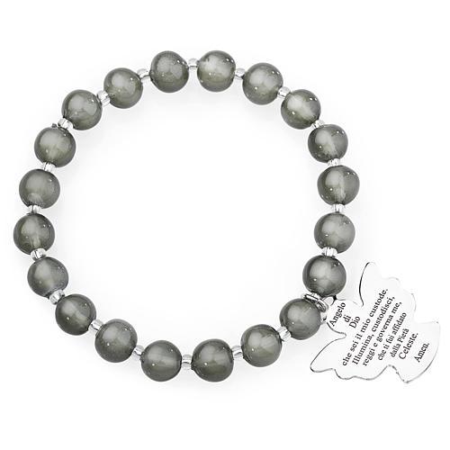 Bracelet Amen perles verre Murano gris foncé 8 mm argent 925 1