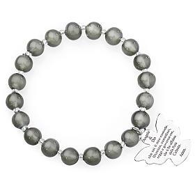 AMEN bracelets: Amen bracelet in dark grey Murano beads 8mm, sterling silver