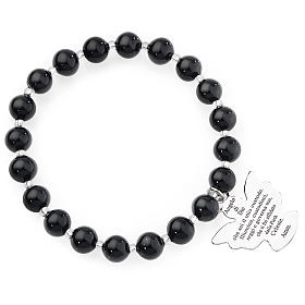 Bracciale AMEN perle Murano nero 8 mm argento 925 s1