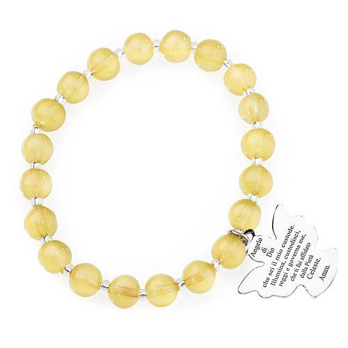 Pulsera AMEN perlas amarillo de Murano 8 mm. plata 925 1