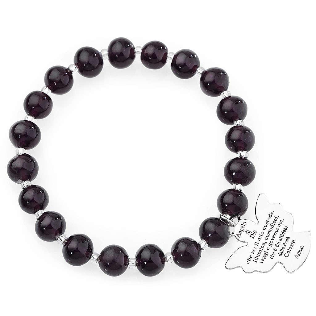 Bracciale AMEN perle Murano viola scuro 8 mm argento 925 4