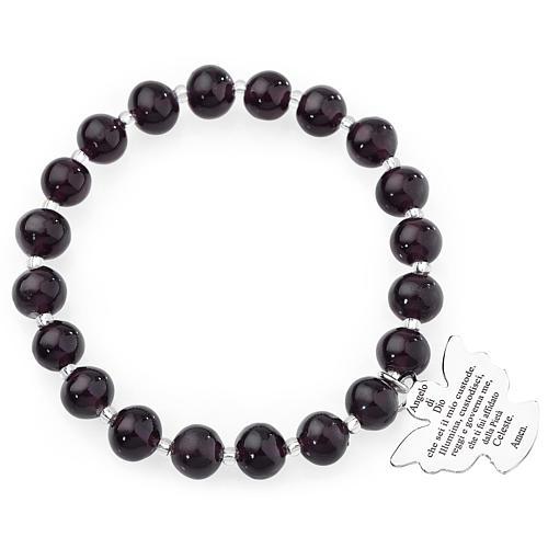 Bracciale AMEN perle Murano viola scuro 8 mm argento 925 1