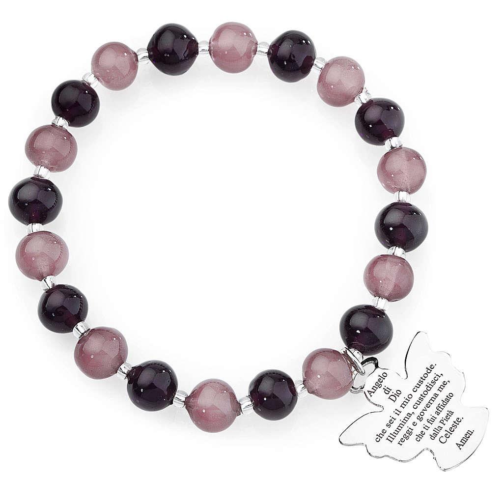 Bracciale AMEN perle Murano viola 8 mm argento 925 4