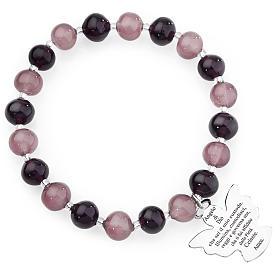 Bracciale AMEN perle Murano viola 8 mm argento 925 s1