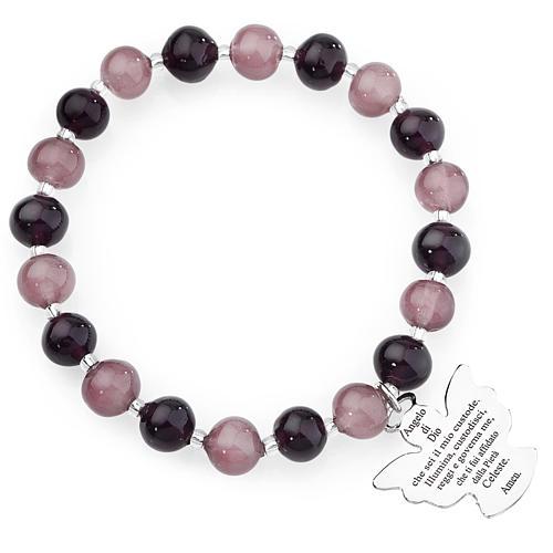 Bracciale AMEN perle Murano viola 8 mm argento 925 1