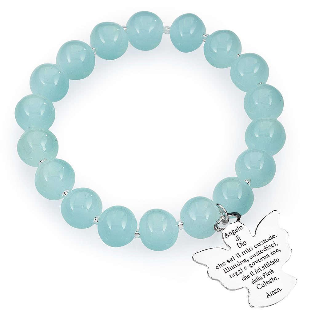 Bracciale AMEN perle Murano azzurro 10 mm argento 925 4