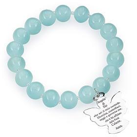 Bracciale AMEN perle Murano azzurro 10 mm argento 925 s1