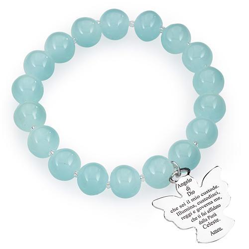 Bracciale AMEN perle Murano azzurro 10 mm argento 925 1