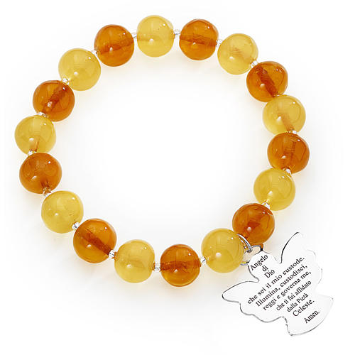 Bracciale AMEN perle Murano ambra topazio 10 mm argento 925 1