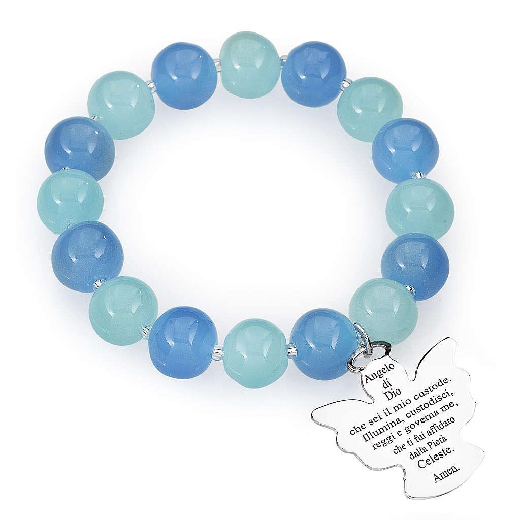 Bracciale AMEN perle Murano blu acquamarina 10 mm argento 925 4