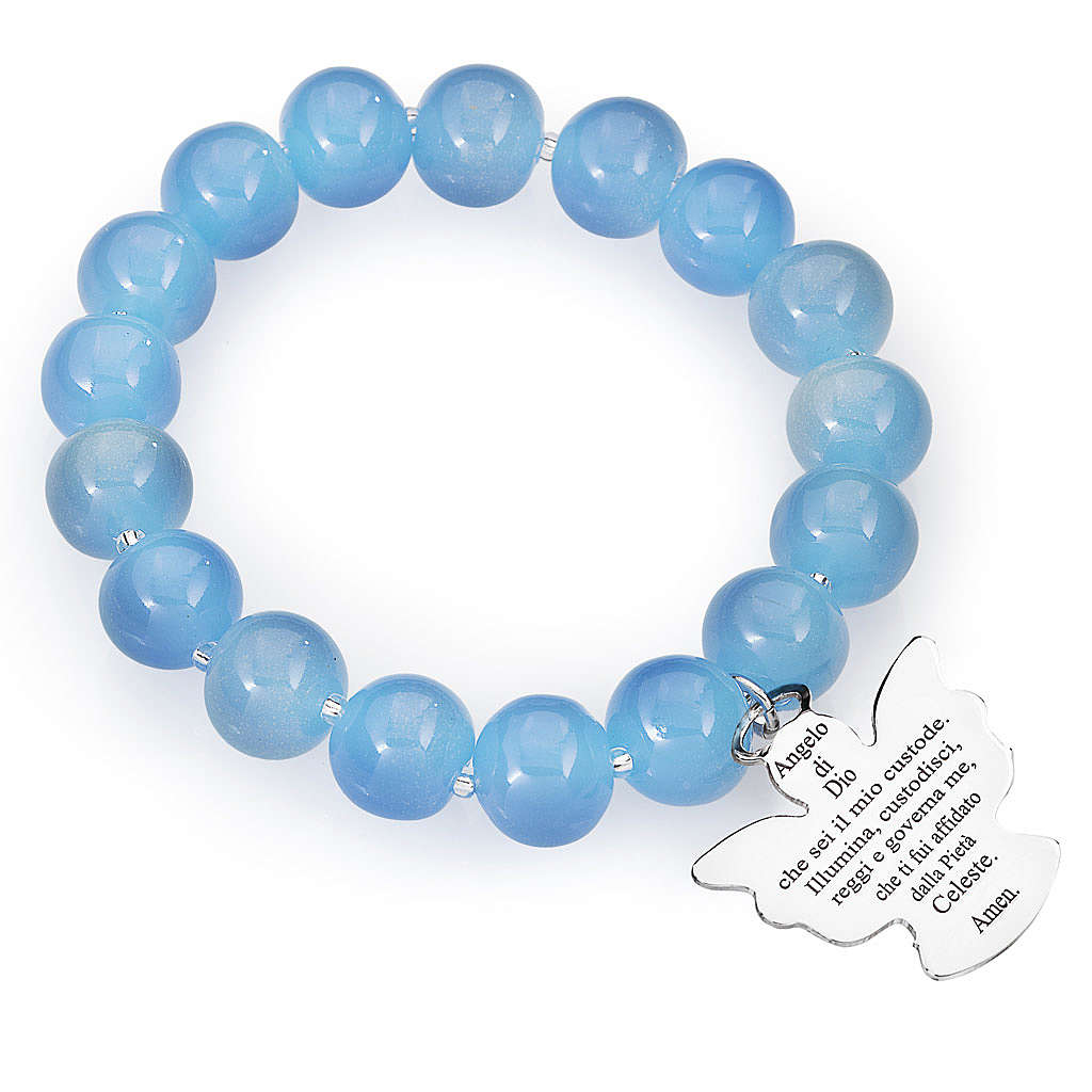 Bracciale AMEN perle Murano blu 10 mm argento 925 4