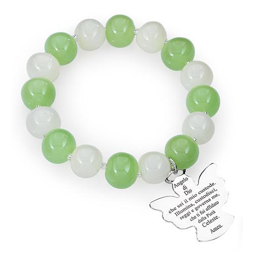 Bracciale AMEN perle Murano bianco verde 10 mm argento 925 1