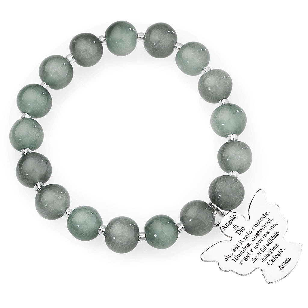 Pulsera AMEN perlas gris claro de Murano 10 mm. plata 925 4