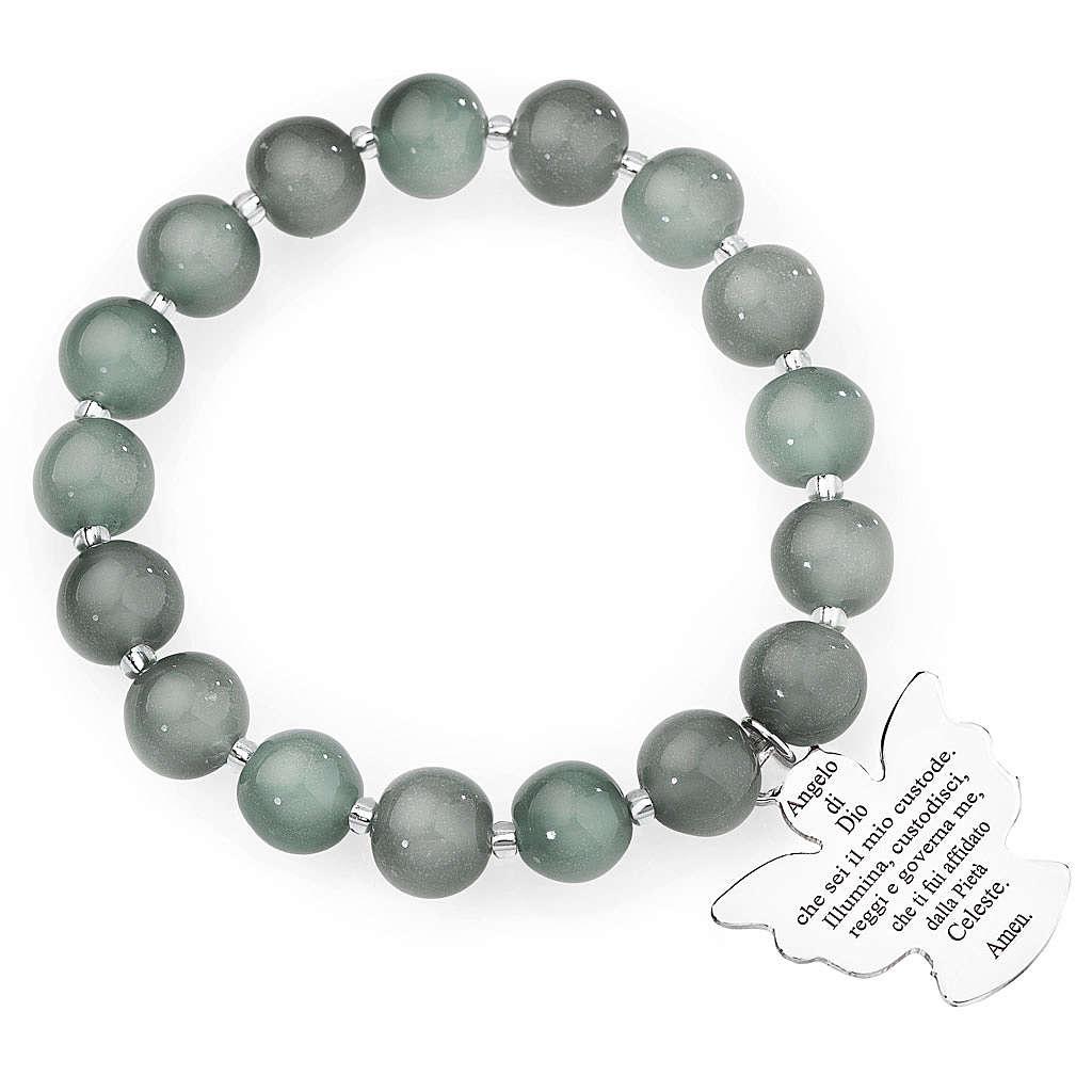 Amen bracelet in light grey Murano beads 10mm, sterling silver 4