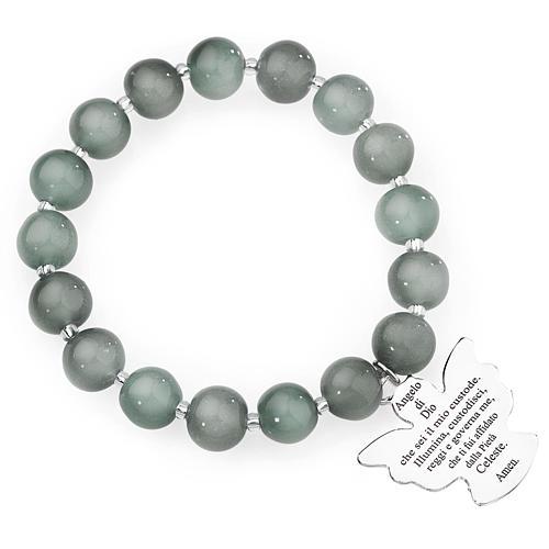 Amen bracelet in light grey Murano beads 10mm, sterling silver 1