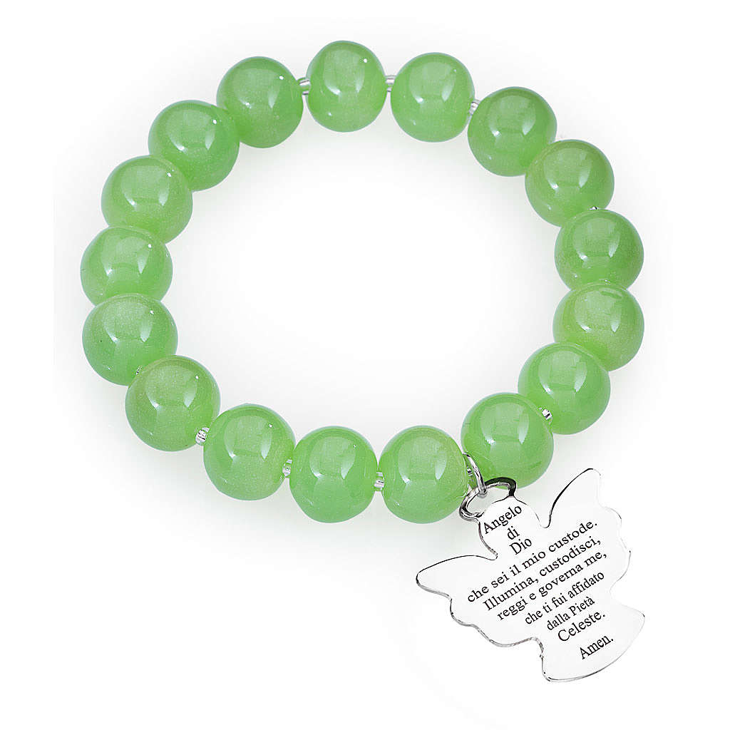 Bracciale AMEN perle Murano verde 10 mm argento 925 4