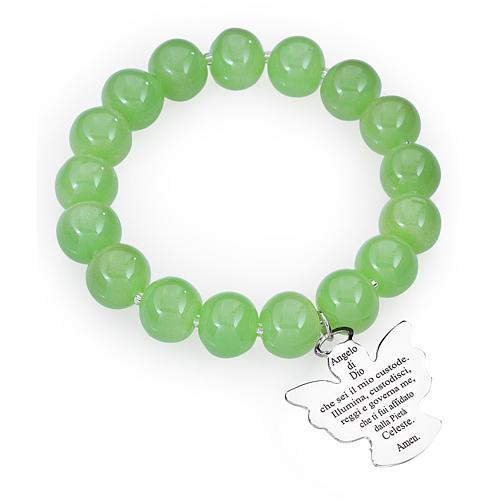 Bracciale AMEN perle Murano verde 10 mm argento 925 1