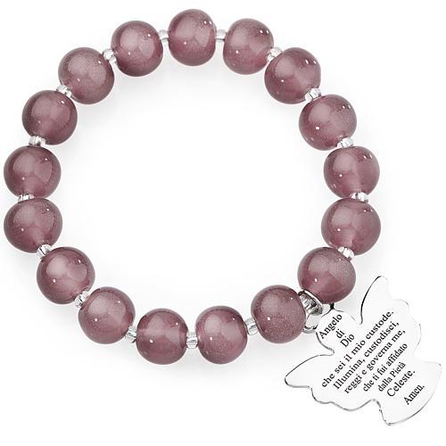Bracciale AMEN perle Murano viola chiaro 10 mm argento 925 1