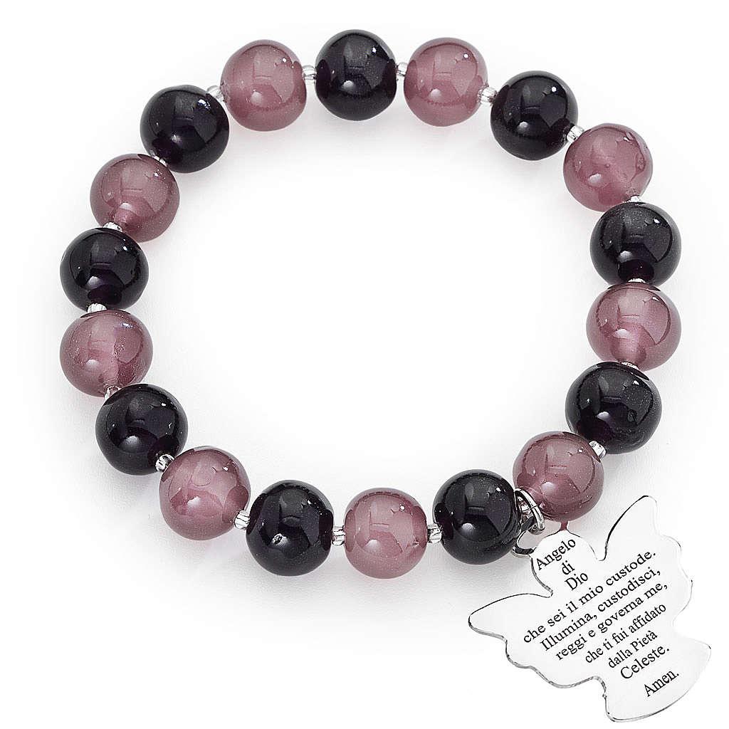 Bracciale AMEN perle Murano viola 10 mm argento 925 4