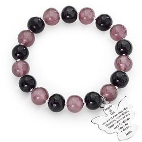 Bracciale AMEN perle Murano viola 10 mm argento 925 s1
