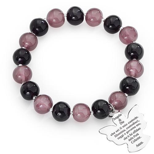 Bracciale AMEN perle Murano viola 10 mm argento 925 1