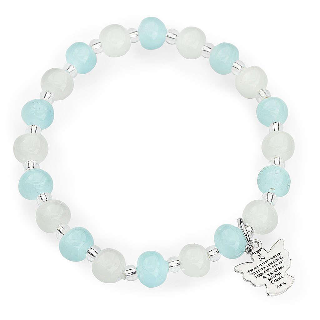 Bracelet Amen enfant perles Murano aigue-marine-blanc arg 925 4