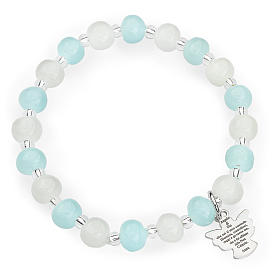 Bracelet Amen enfant perles Murano aigue-marine-blanc arg 925 s1