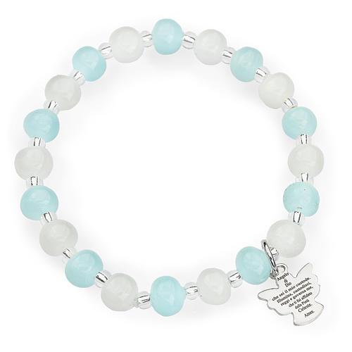 Bracelet Amen enfant perles Murano aigue-marine-blanc arg 925 1