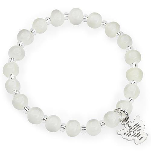 Amen bracelet for children, Murano beads, white sterling silver 1