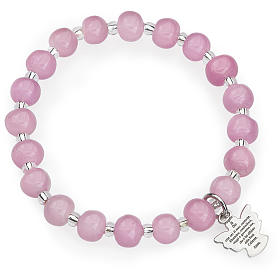 Pulsera AMEN para niños perlas de Murano rosadas plata 925 s1