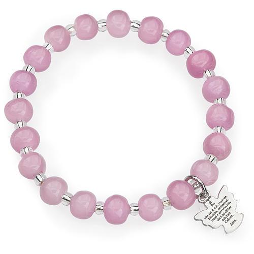 Bracciale AMEN per bambini perle Murano rosa arg 925 1
