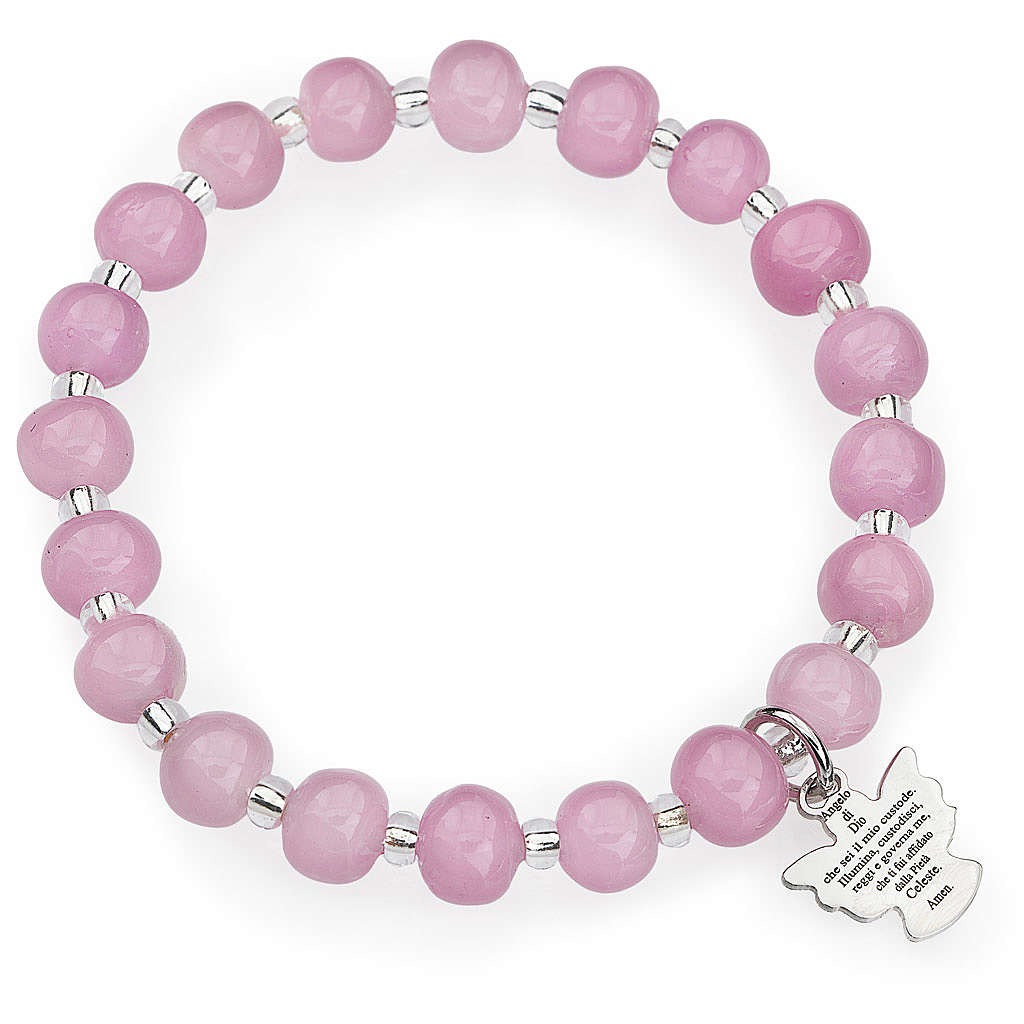 Amen bracelet for children, Murano beads, pink sterling silver 4