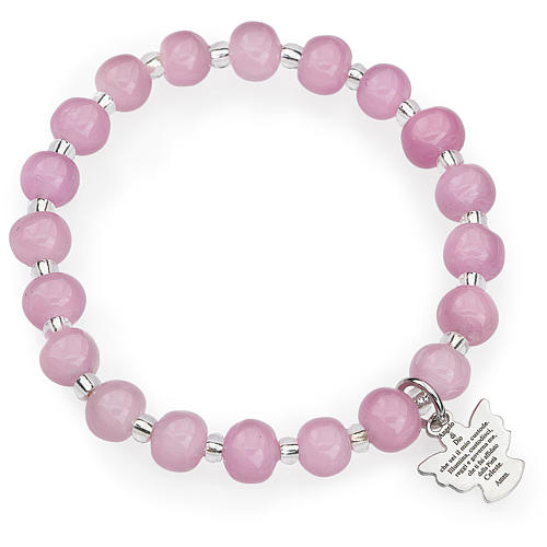 Amen bracelet for children, Murano beads, pink sterling silver 1