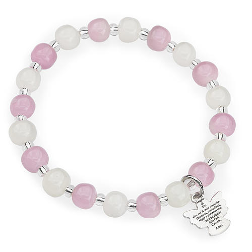 Bracelet Amen enfant perles Murano rose-blanc argent 925 1