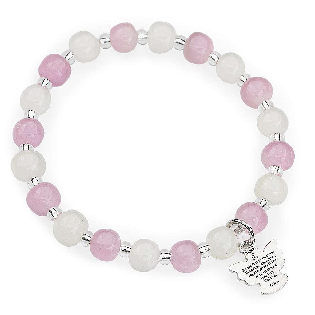 Bracciale AMEN per bambini perle Murano rosa bianco arg 925 4
