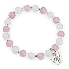 AMEN bracelets: Amen bracelet for children, Murano beads, white pink sterling si