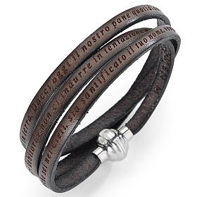 AMEN bracelets: Amen bracelet with Our Father in Italian, mud colour