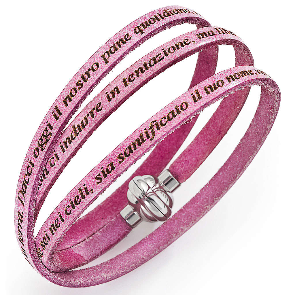 Amen bracelet with Our Father in Italian, ancient pink 4