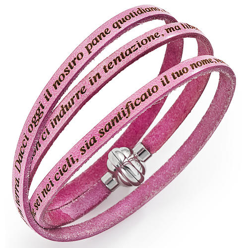 Amen bracelet with Our Father in Italian, ancient pink 1