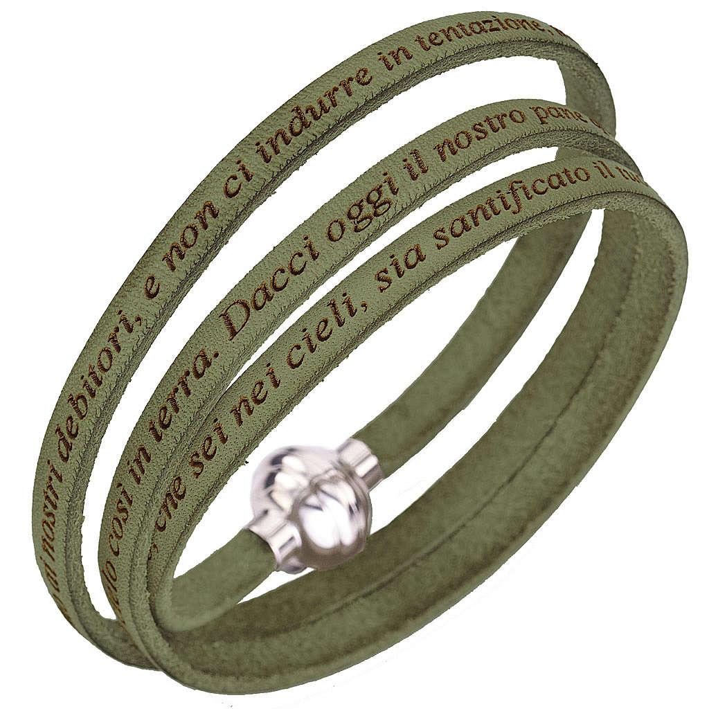 Bracelet Amen Notre Père vert sauge Italien 4